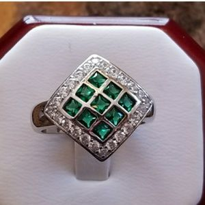 Jewelry - Emerald Checkerboard Pave Ring Size 8